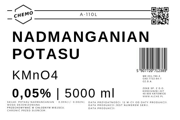 Nadmanganian potasu 0,050%. 5000 ml